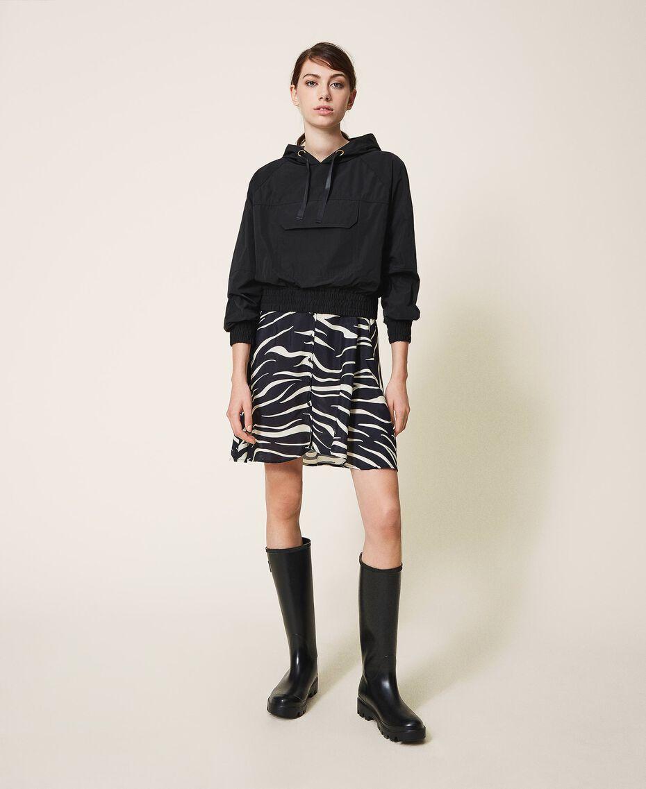 Taffeta jacket with hood Black Woman 202MP2142-01