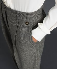Glen plaid wide leg trousers Lurex Dark Grey Wales Design Woman 192TT244A-05