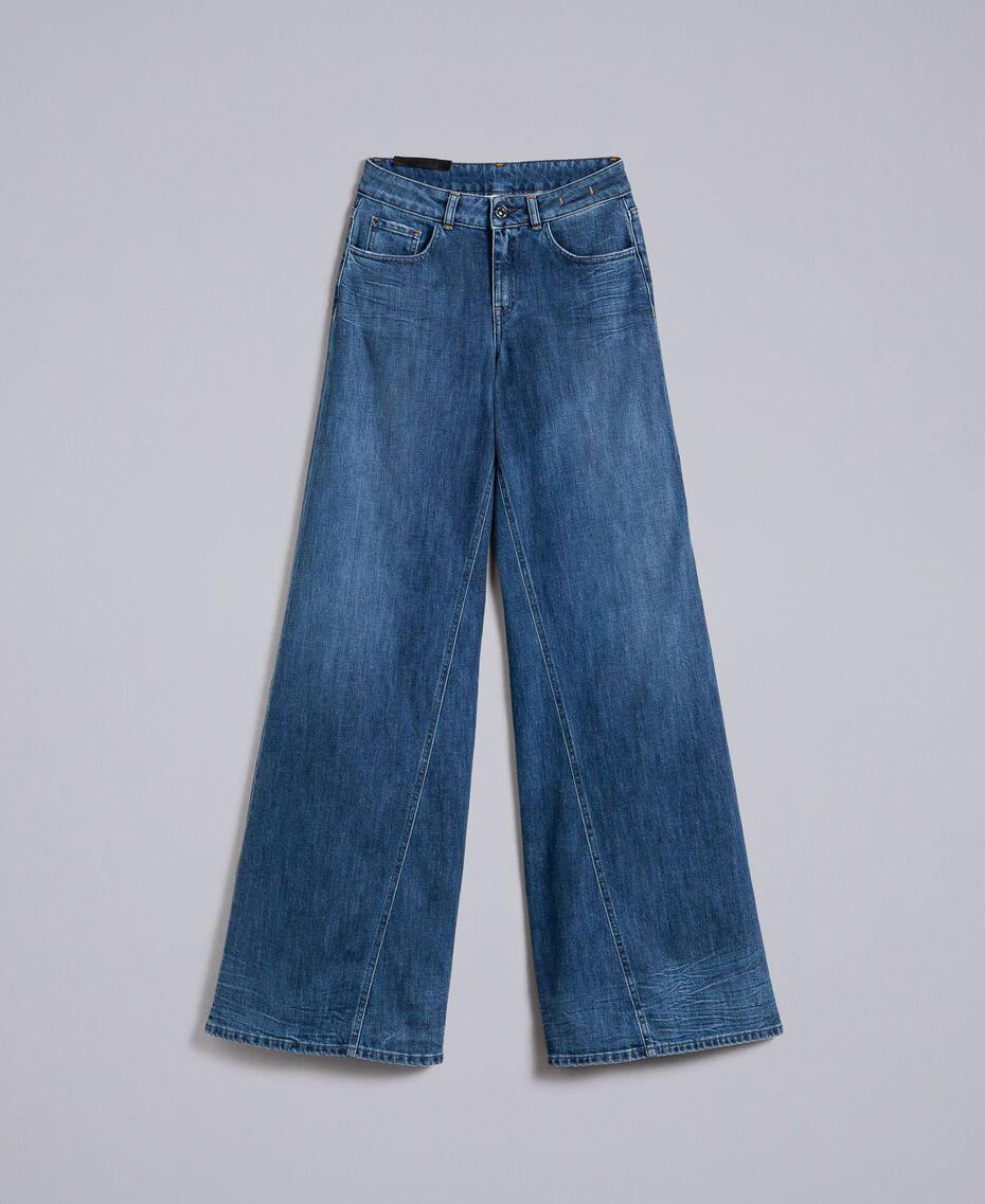 Wide-Leg-Jeans aus Denim Denimblau Frau JA82Q4-0S