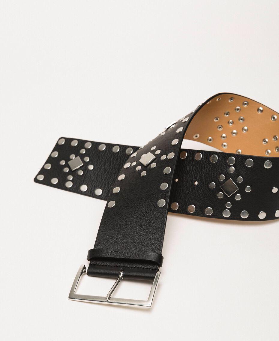 Кожаный ремень высокой посадки с заклепками Черный женщина 201TO5342-01