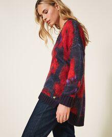 Maxi pull en laine et mohair floral Imprimé Grande Fleur Violet «Vibrant» / Rouge Vénitien Femme 202TT3300-03