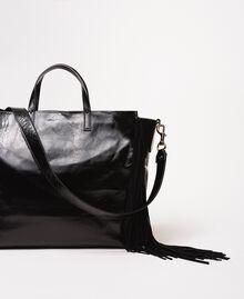 Большая кожаная сумка-шоппер с бахромой Бежевый Нуга женщина 201TO8140-03