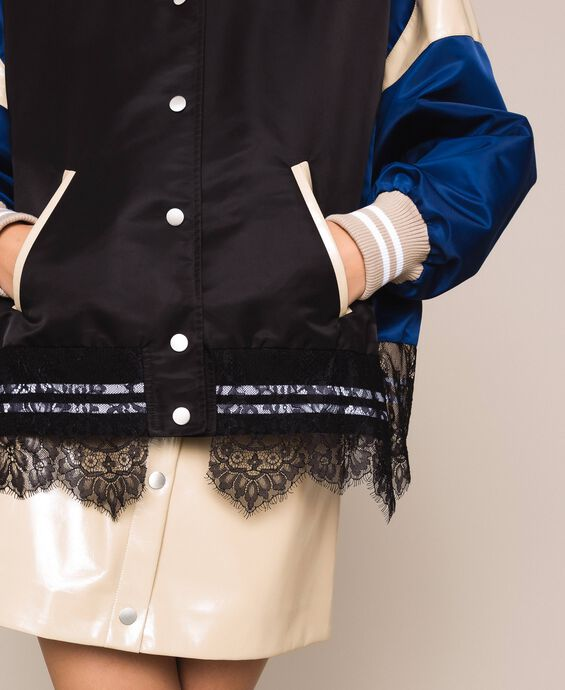 Colour block bomber jacket with lace