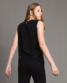 Top avec strass et dentelle Noir Femme 191MP2450-03