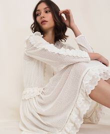 Broderie anglaise dress with drawstring White Snow Woman 201TP2496-01