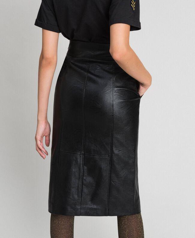 Jupe mi-longue en similicuir Noir Femme 192TT203B-03