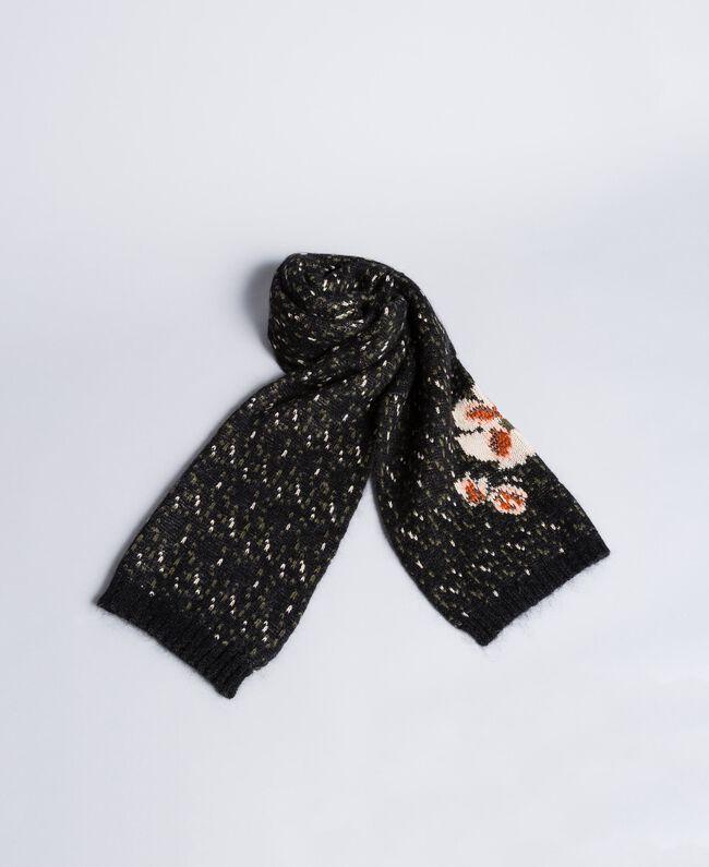 Écharpe en mohair jacquard Jacquard Fleurs Noir Femme OA8T8F-01