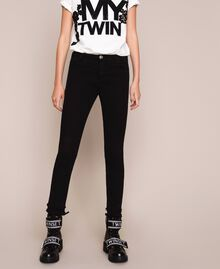 Skinny trousers with frayed hem Black Woman 201MP2301-02