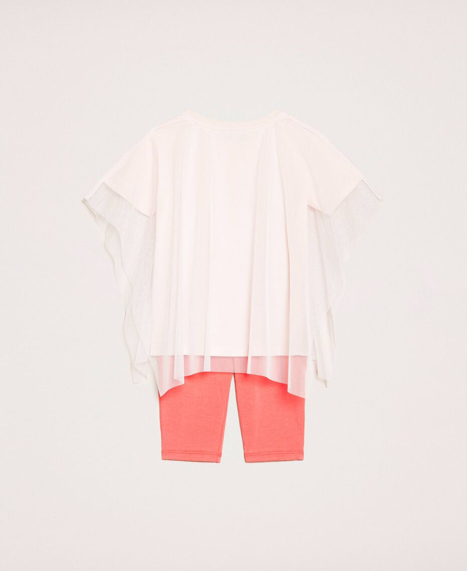 """Maxi T-shirt with tulle and leggings Pale Pink Cockatoo Print / """"Calypso Coral"""" Red Child 201GB2312-0S"""