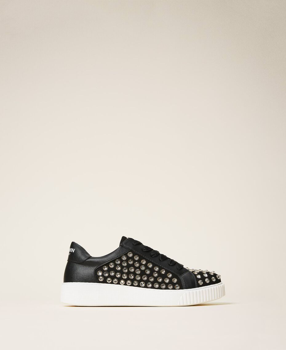 "Suede trainers with rhinestones Two-tone Black / ""Anthracite"" Grey Woman 202MCP012-03"
