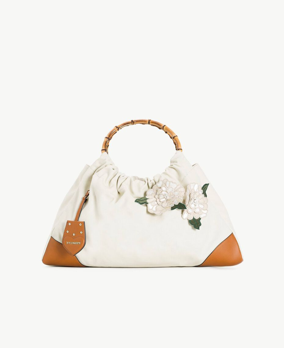 """TWINSET Canvas bag Two-tone """"Dune"""" Beige / Leather Woman OS8TAF-01"""