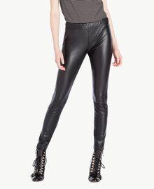 Faux leather leggings Black Woman PS82GA-01