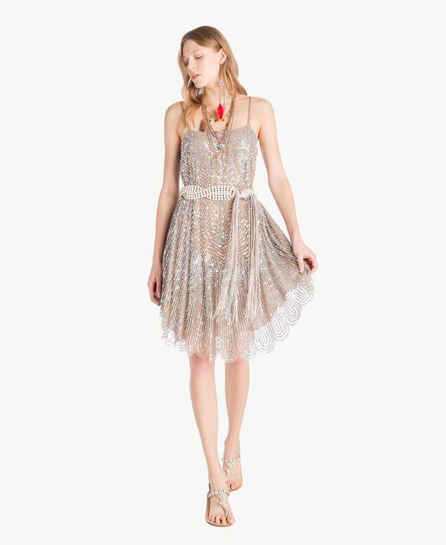 All over sequin dress Dark Silver Woman TS82EA-01