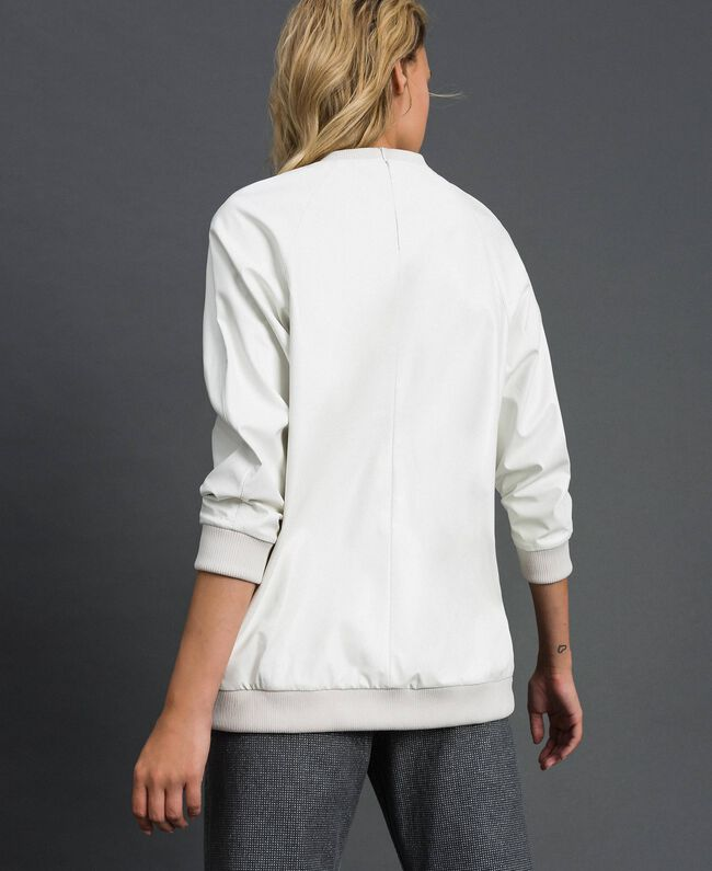 Faux leather sweatshirt with print and embroidery White Snow Woman 192ST2012-04