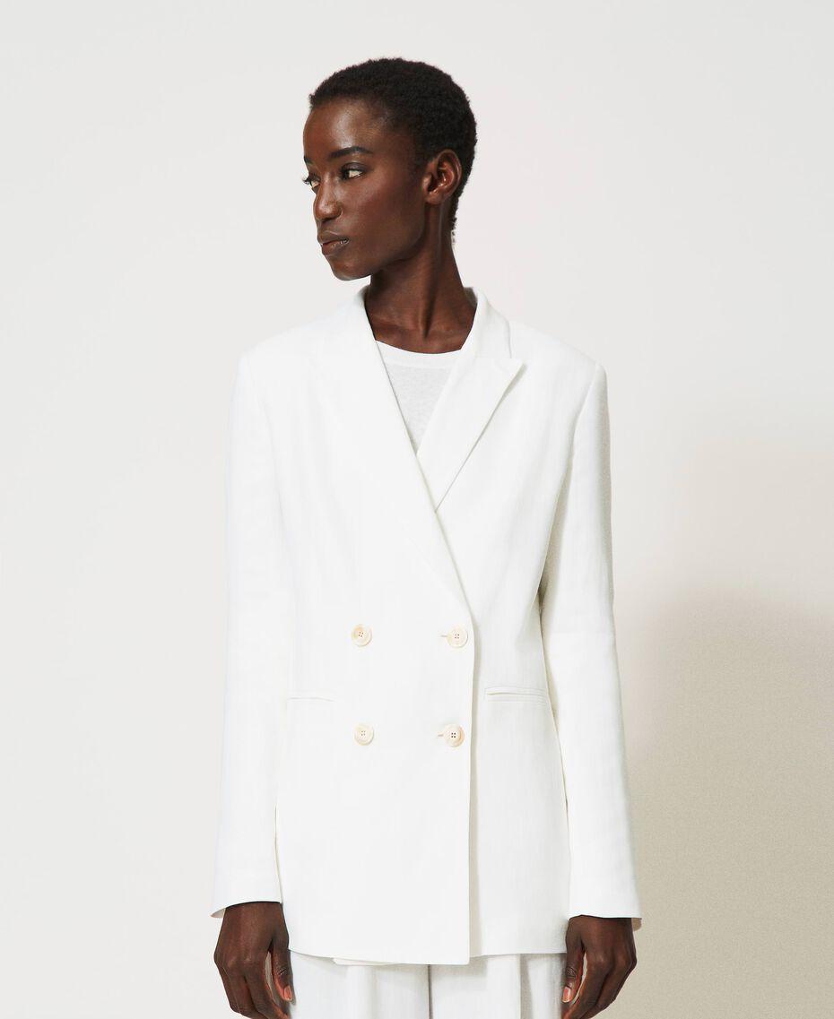 """Linen blend jacket """"Silk"""" White Woman 211TT2582-01"""