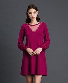Kleid mit Spitze und Plumetis-Tüll Rote-Bete-Rot Frau 192TP3170-01