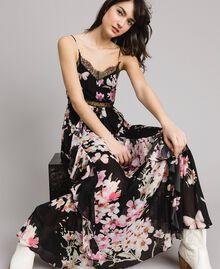 """Robe longue en georgette à imprimé floral Imprimé Noir Rose """"Fleur De Pêcher"""" Femme 191TP2717-01"""