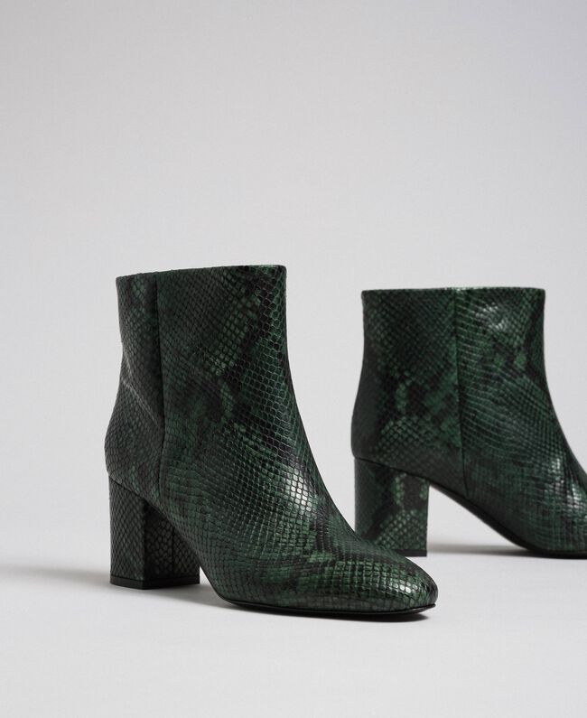 Leather ankle boots with animal print Dark Green Python Print Woman 192TCP12Q-01