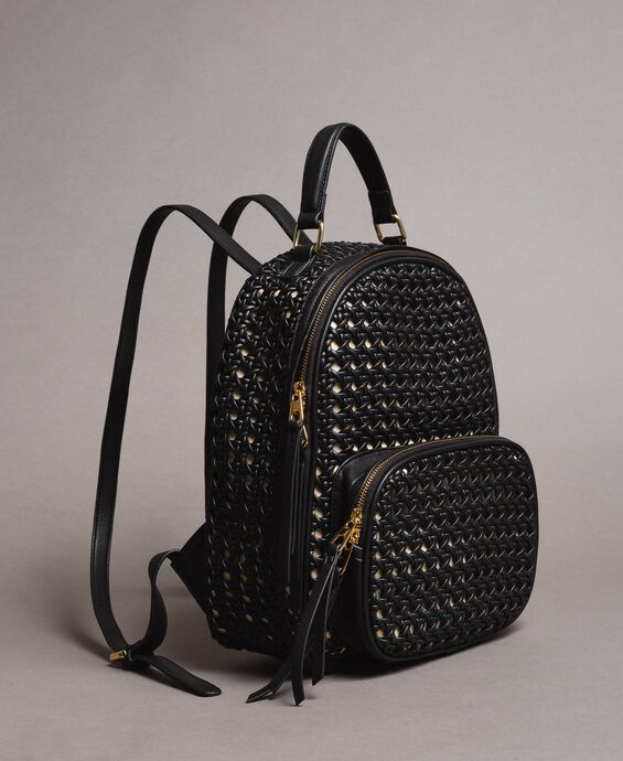 Braided faux leather backpack
