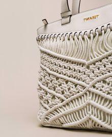Borsa shopper in crochet Bianco Antique White Donna 201TO8130-03