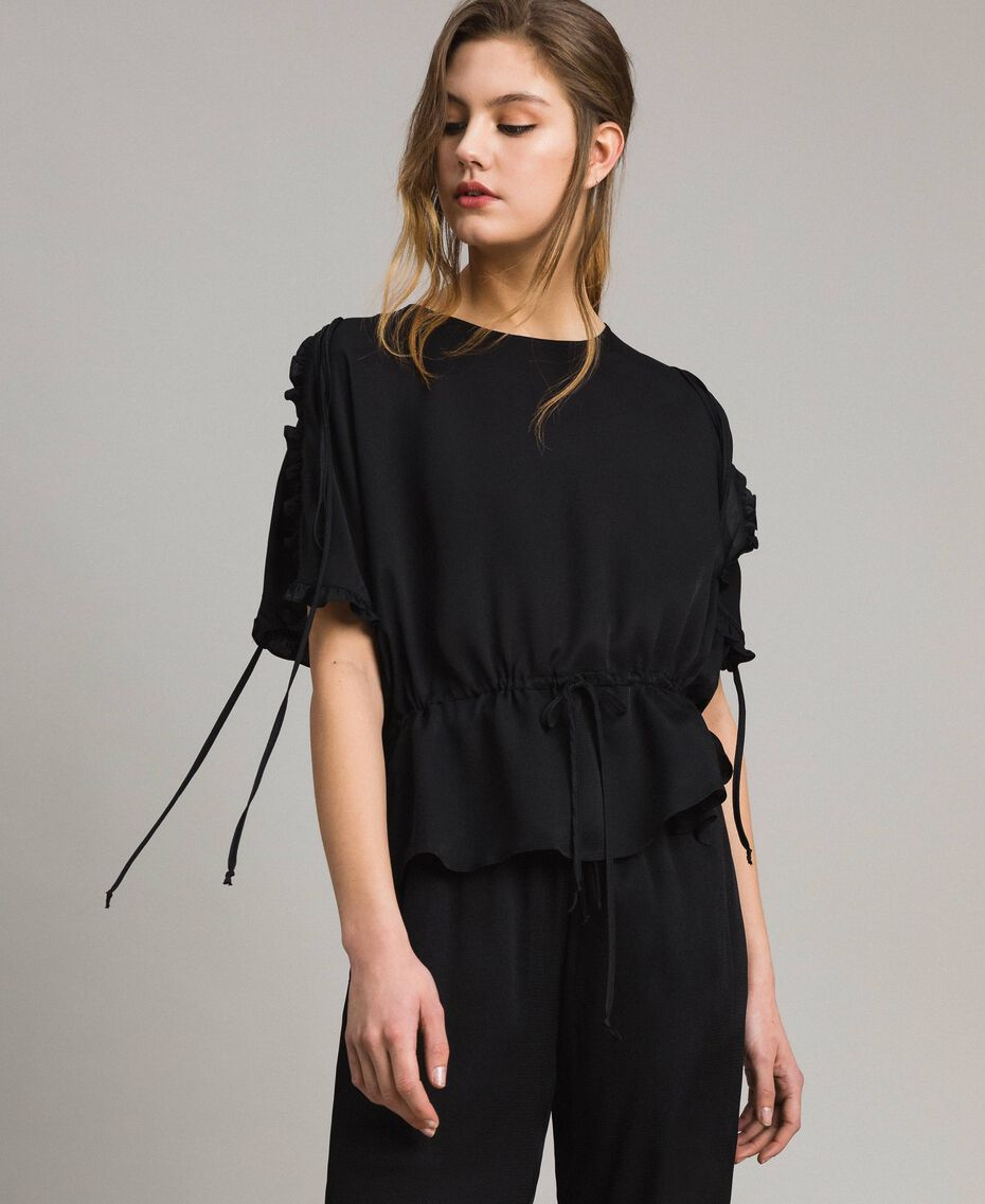 Silk blend blouse with ruches Black Woman 191TT2071-02