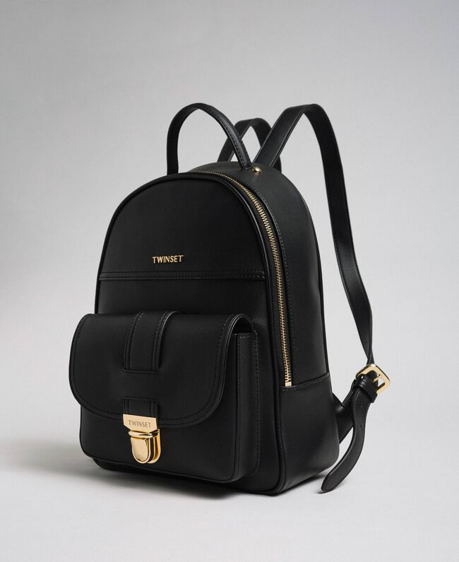 Faux leather backpack Black Woman 192TA7133-01