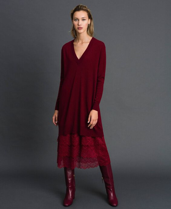 Knit dress with crêpe and lace slip