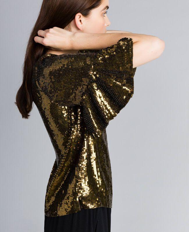 Bluse mit Alloverpailletten Armeegrün / Goldpailletten Frau TA82DB-03
