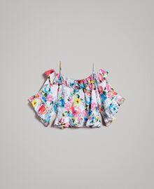 Blusa con estampado de flores y volante Estampado All Over Flores Multicolor Blanco Óptico Mujer 191MT2291-0S
