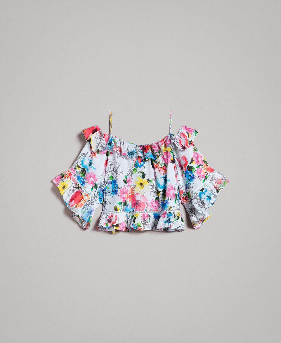 Blouse avec imprimé floral et volant Imprimé Fleur Multicolore Blanc Optique Total Femme 191MT2291-0S