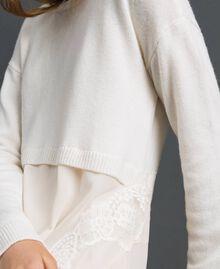 Robe en maille avec crêpe georgette et dentelle Blanc Neige Femme 192TT3081-04