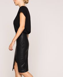 Robe en crêpe de Chine et similicuir Noir Femme 201TP2122-02