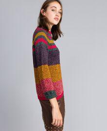 Pullover aus Moulinégarn in Color-Block-Verarbeitung Mehrfarbiger Mouliné Frau YA831B-02