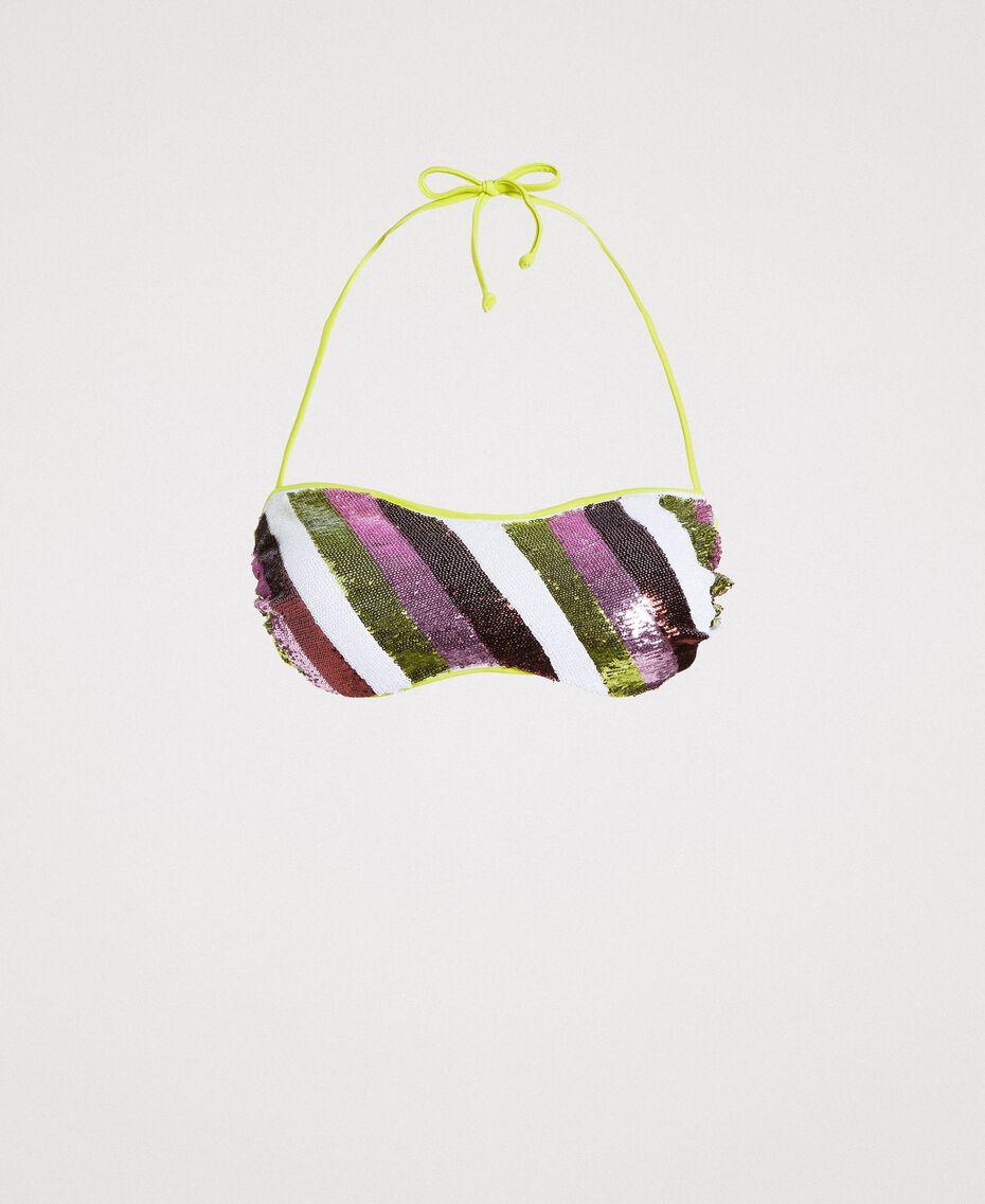 """Haut de bikini bandeau à rayures orné de sequins Rayures Multicolores Marron """"Poudre De Bronze"""" / Jaune """"Jus De Citron"""" Femme 191LBMAUU-01"""