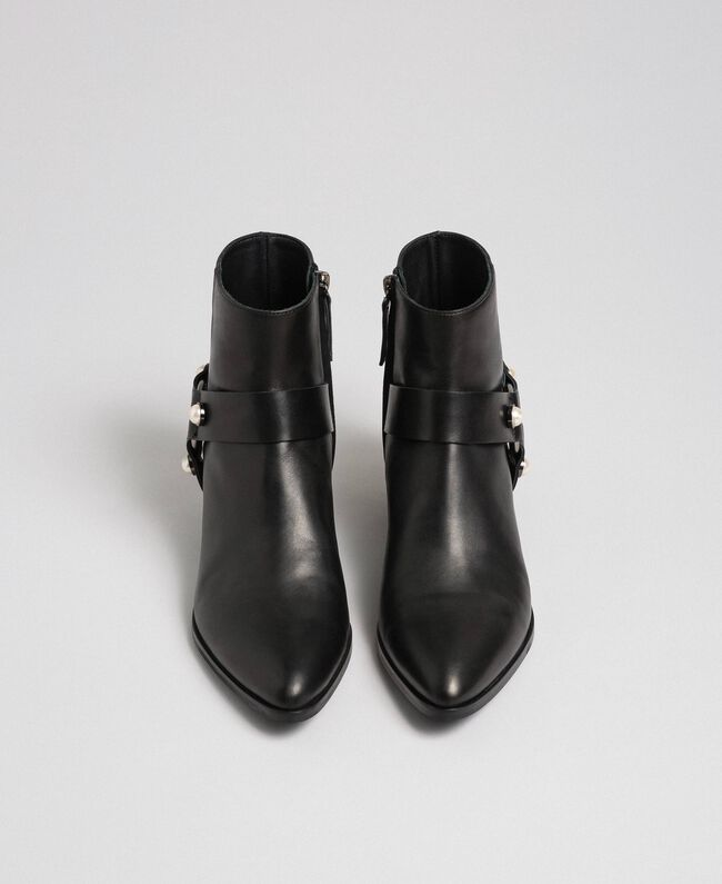 Leather booties with straps and pearls Black Woman 192TCP10E-04