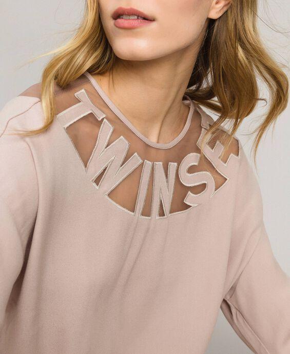 Sweatshirt with tulle yoke and logo