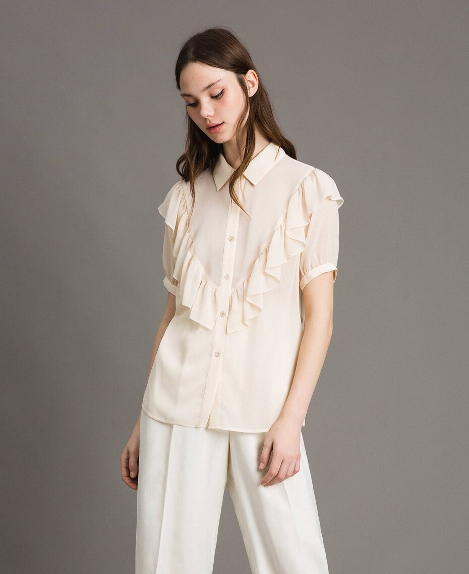 "Crepon ruched shirt ""Milkway"" Beige Woman 191LB21GG-02"