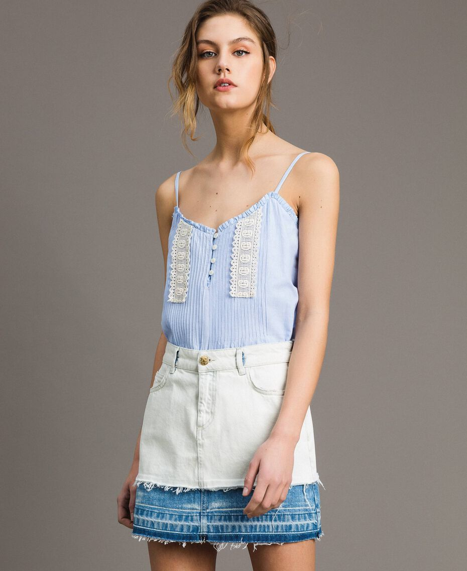 Minijupe en denim Bleu Denim Femme 191MT2433-01