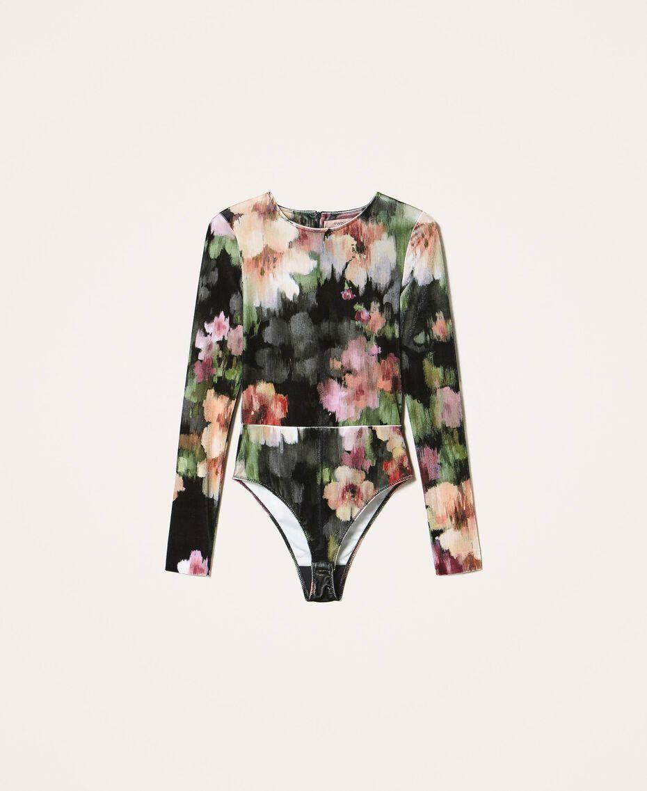 """Body in velluto stampato a fiori Stampa Fiori Nero / Rosa """"Peach Pearl"""" Donna 202TT2360-0S"""