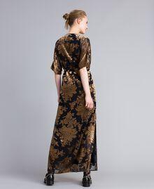 Robe longue en velours dévoré Camel Dévoré Femme PA82M4-03