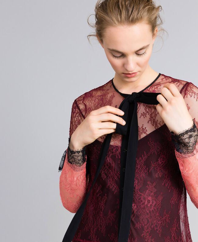 """Valencienne lace multi-colour long dress Burgundy Multicolour / """"Royal Pink"""" Woman PA82FS-04"""