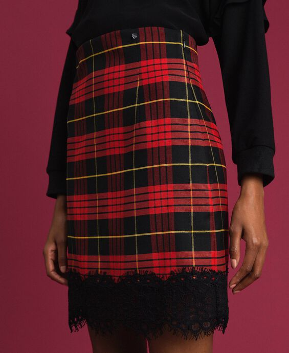 Chequered wool high waist skirt