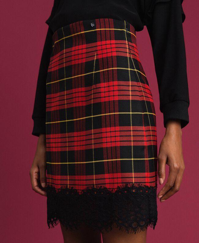 Chequered wool high waist skirt Pomegranate Tartan Jacquard Woman 192TP2624-01