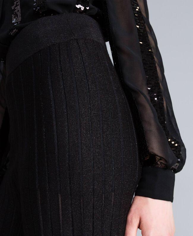 Pantaloni ampi in maglia plissé lurex Nero Lurex Donna PA83CE-03