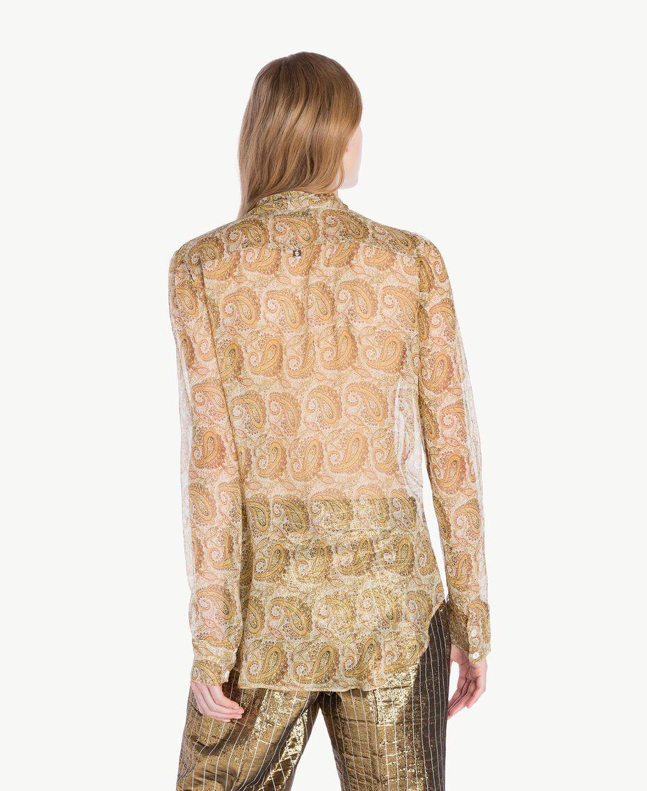Silk shirt Yellow Macro Paisley Print Woman TS825R-03