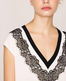 "Crêpe de Chine top with lace Two-tone ""Silk"" White / Black Woman 201ST201A-04"