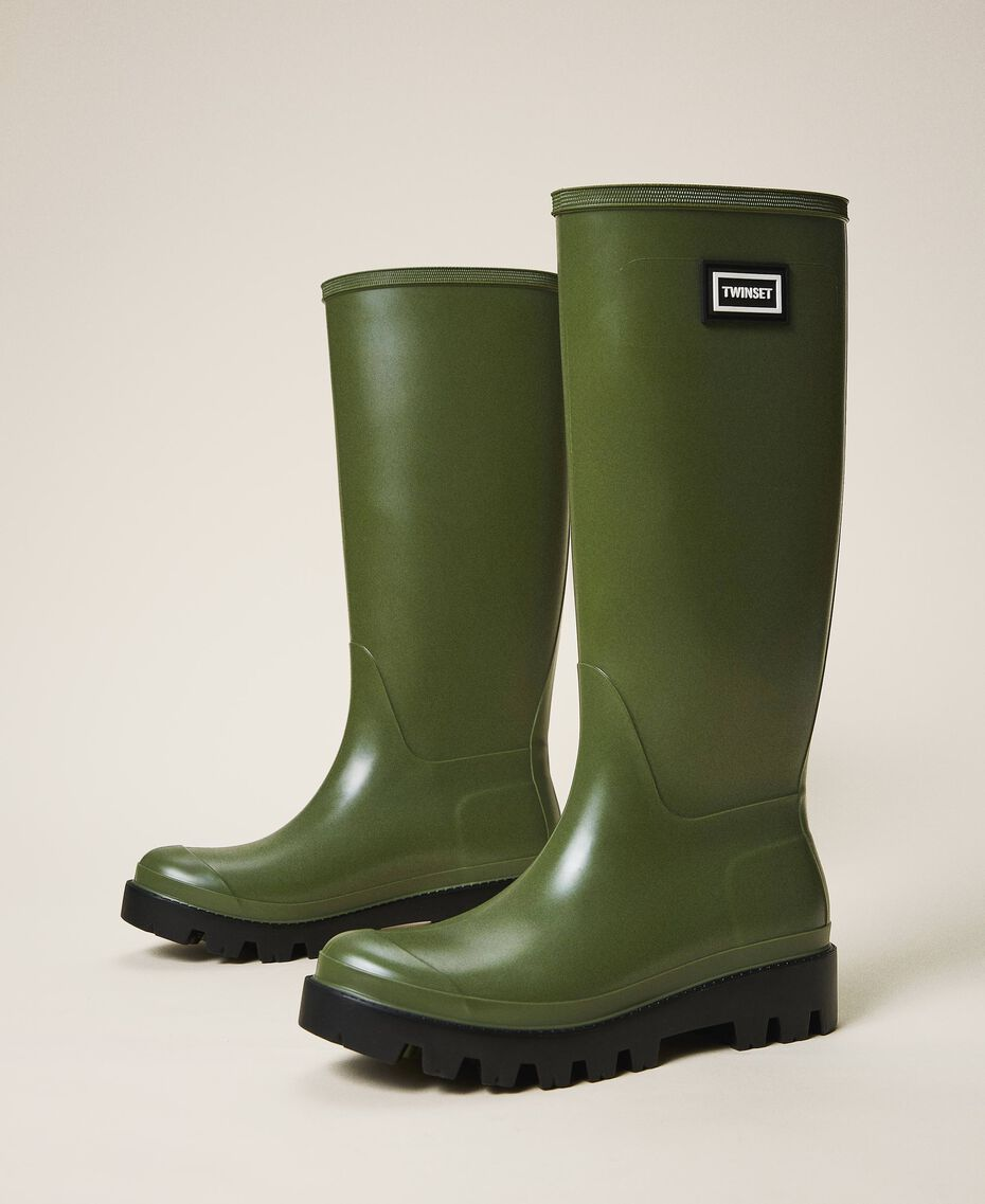 Rain boots with logo Creamy White Woman 202TCP210-01