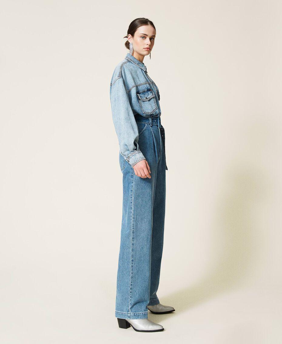 """Jeans 'Azurite' con cintura Blu """"Denim Medio"""" Donna 212AP238A-02"""
