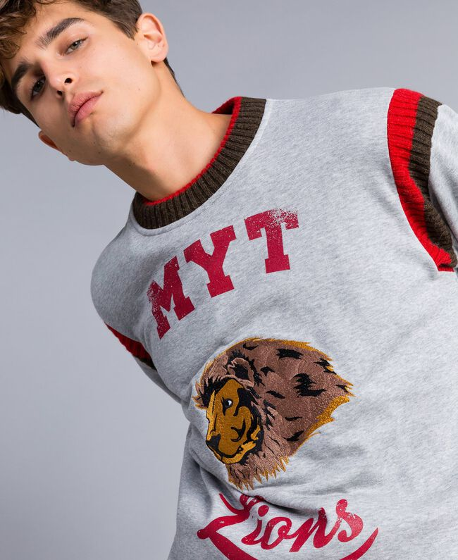 "Embroidered cotton sweatshirt with print Multicolour Grey Melange / ""Poppy"" Red / Alpine Green Man UA82DC-04"