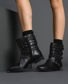 Leather biker boots with straps and studs Black Woman 192TCP01Q-0S